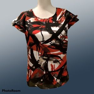 Michael Kors Black red and gray abstract top